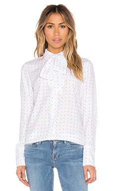FRAME Denim Le Scarf Blouse in Blanc Dot