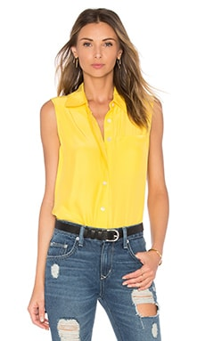 Le Sleeveless Button Up en Canary Yellow