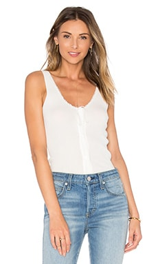 FRAME Denim Le Lace Rib Tank in Off White