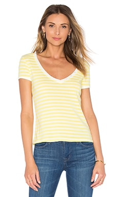 Le Button V Neck Tee in Canary Yellow Stripe