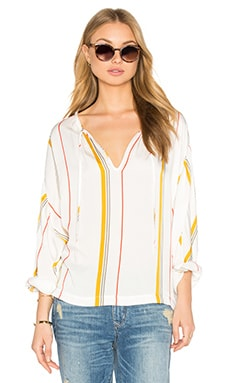 FRAME Denim Le Raglan Blouse in Saffron Summer Stripe