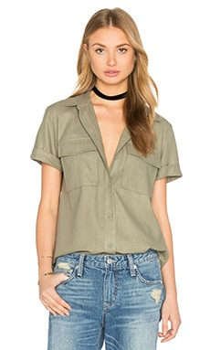 Le Military Button Up in Olive