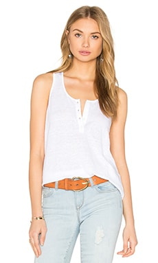 FRAME Denim Le Henley Tank in Blanc