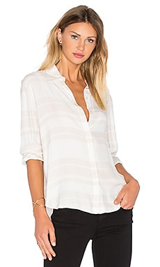 Le Essential Blouse en Bone & Blanc Stripe