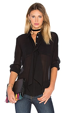 FRAME Denim Le Chiffon Tie Blouse in Noir