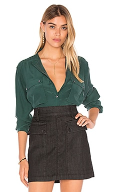 FRAME Denim Le Silk Troop Button Up in Spruce