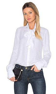 Tie Neck Blouse in Blanc