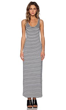 Feel the Piece Trudy Maxi Dress in Grey & Navy Stripe