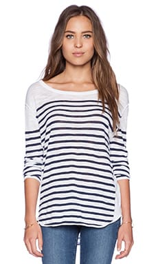 Feel the Piece Jett Sweater in White & Navy Stripe