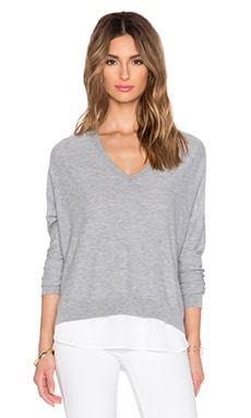 Feel the Piece Brixton V Neck Sweater in Light Heather Grey & White