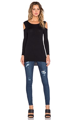 Feel the Piece Remy Open Shoulder Sweater in Black