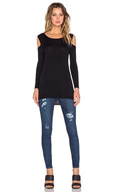 Feel the Piece Remy Open Shoulder Sweater in Black