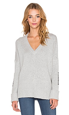 Feel the Piece Brigid V Neck Sweater in Silver