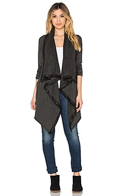 Feel the Piece Helix Cardigan in Charcoal & Cracked Sueded Jersey