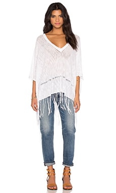Essex Fringe Poncho in Optic White