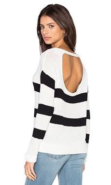 Kenzie Pullover in White & Black Stripes