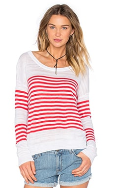 Feel the Piece Lawrence Pullover in Optic White & Red Stripe