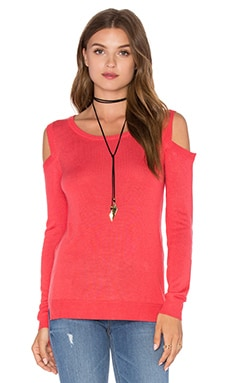 Feel the Piece Florentine Open Shoulder Sweater in Coral Reef