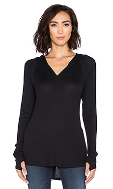 Feel the Piece Trent V Neck Hoodie in Black