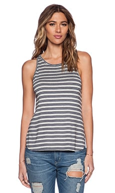 Feel the Piece Robby Tank in Grey & Navy Stripe