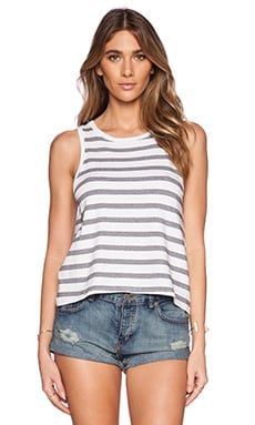 Feel the Piece Striped Doe Tank in Navy & White