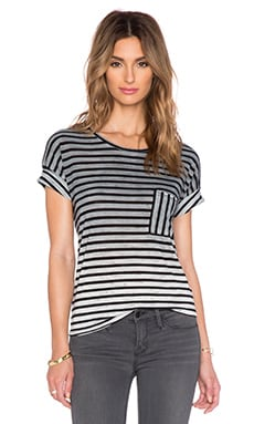 Feel the Piece Kenna Stripe Pocket Tee in Black, Cream & Marble Stripe
