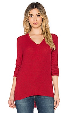 Feel the Piece Olin V-Neck Top in Heather Rouge