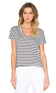 Adriana Stripe Tee in Natural & Navy