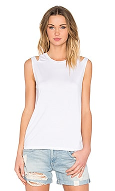 Feel the Piece Mattias Slit Shoulder Tank in White
