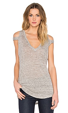 Feel the Piece Stone Slit Shoulder Tank in Heather Grey