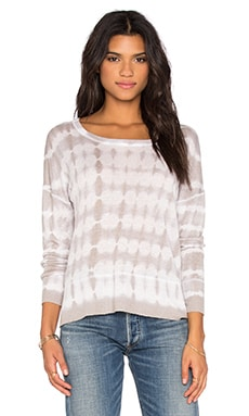 Feel the Piece Cambria Tie Dye Long Sleeve Top in Optic White & Platinum Tie Dye