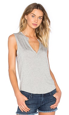 Kassy Deep V Tank in Heather Grey