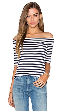 Feel the Piece Linzee Off Shoulder Top in Navy White Stripe