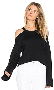 Vine Cold Shoulder Top in Black