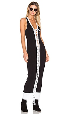 Lacing Ribbed Midi Dress in Black & White