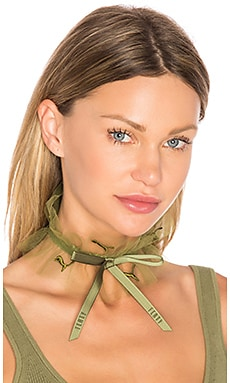 Ruffle Choker in Olive Branch