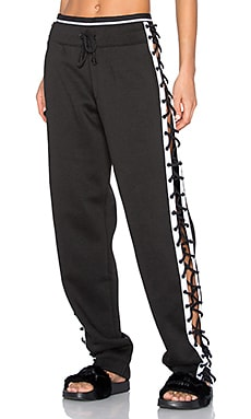 Lace Up Sweat Pant in Black & White