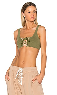 Lacing Crop Tank in Olive Branch