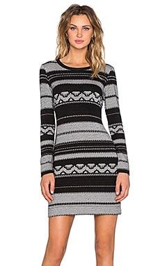 Fifteen Twenty Long Sleeve Knit Jacquard Dress in Black