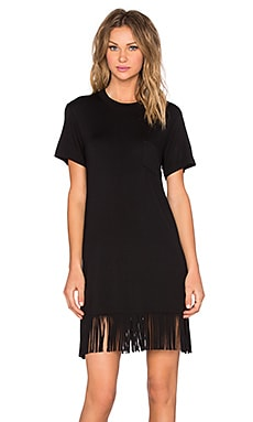 Fifteen Twenty Fringe T Shirt Dress in Black