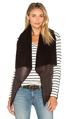 Faux Shearling Vest in Brown