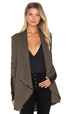 Drape Leather Patch Jacket in Olive