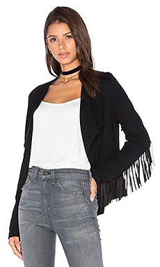 Fifteen Twenty Fringe Sleeve Jacket in Black