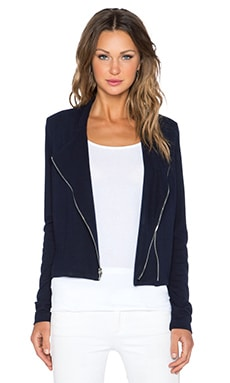 Fifteen Twenty Asymmetrical Zip Crop Jacket in Navy
