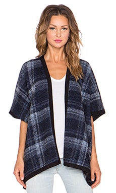 Fifteen Twenty Reversible Plaid Poncho in Navy