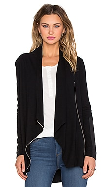 Fifteen Twenty Drape Leather Patch Jacket in Black