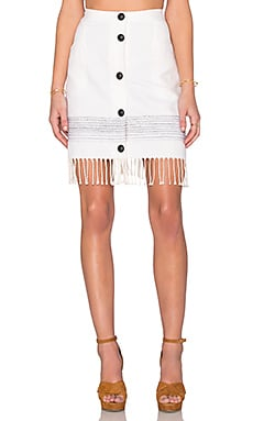 Fifteen Twenty Fringe A Line Skirt in Off White