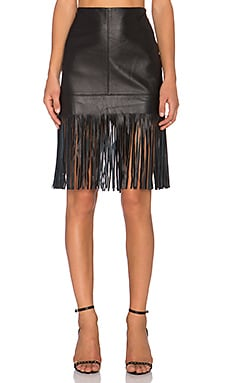 Fifteen Twenty Leather Fringe Skirt in Black