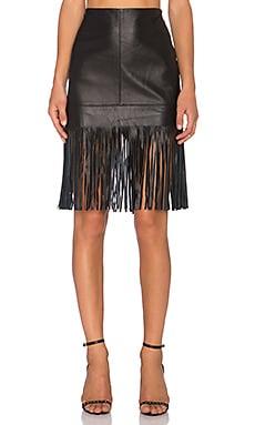 Fifteen Twenty Leather Fringe Skirt in Black