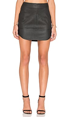 Fifteen Twenty Contrast Leather Skirt in Black